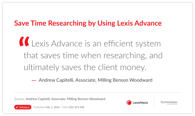 Save Time Researching by Using Lexis Advance