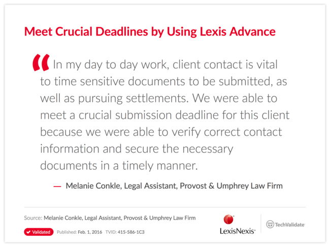 Meet Crucial Deadlines by Using Lexis Advance