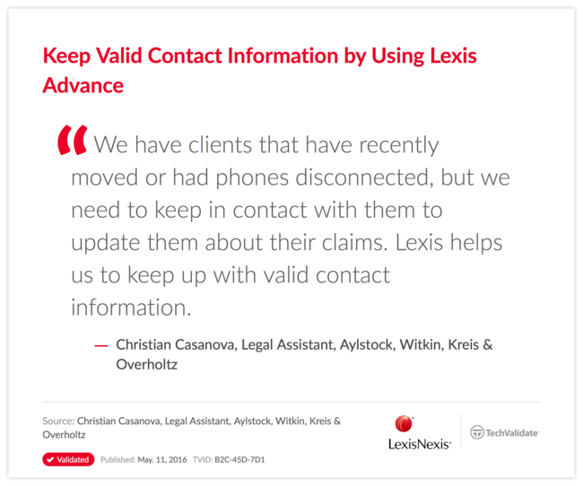 Keep Valid Contact Information by Using Lexis Advance