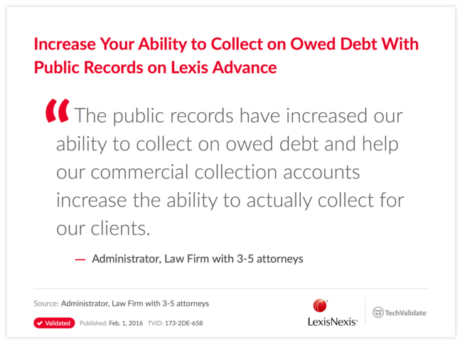 Increase Your Ability to Collect on Owed Debt With Public Records on Lexis Advance