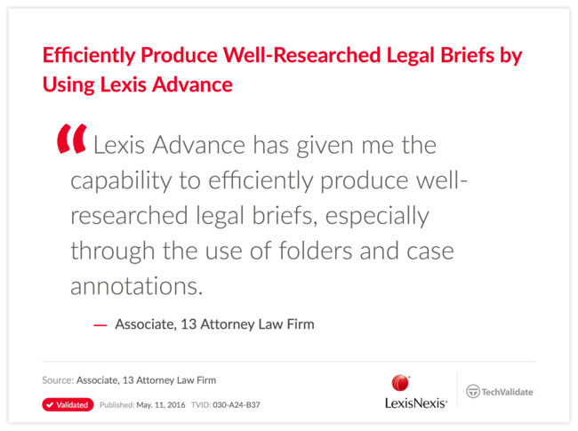 Efficiently Produce Well-Researched Legal Briefs by Using Lexis Advance
