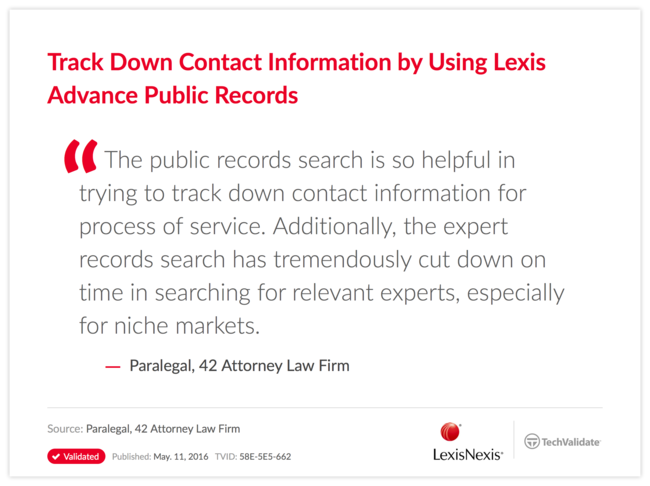 Track Down Contact Information by Using Lexis Advance Public Records