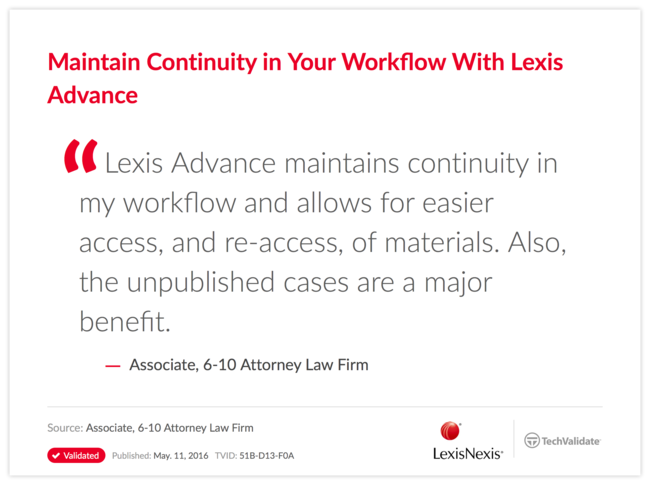 Maintain Continuity in Your Workflow With Lexis Advance