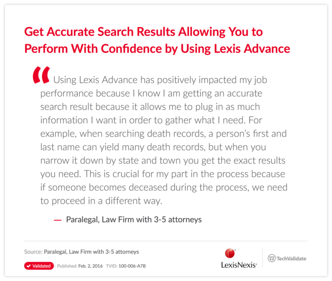Get Accurate Search Results Allowing You to Perform With Confidence by Using Lexis Advance