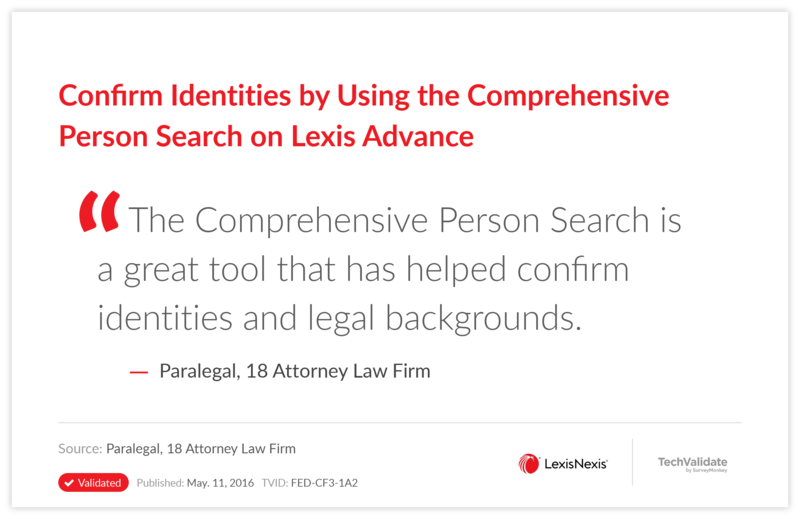 Confirm Identities by Using the Comprehensive Person Search on Lexis Advance