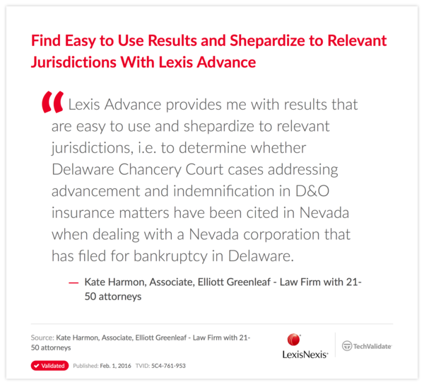 Find Easy to Use Results and Shepardize to Relevant Jurisdictions With Lexis Advance