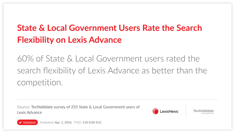 State & Local Government Users Rate the Search Flexibility on Lexis Advance