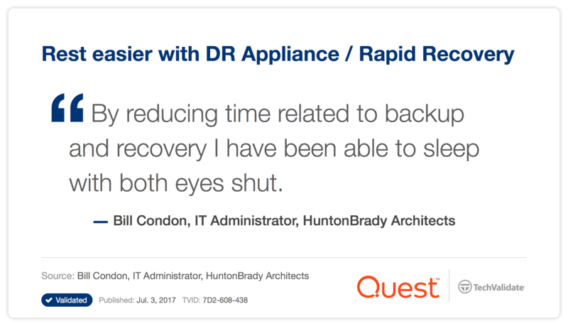 Rest easier with DR Appliance / Rapid Recovery