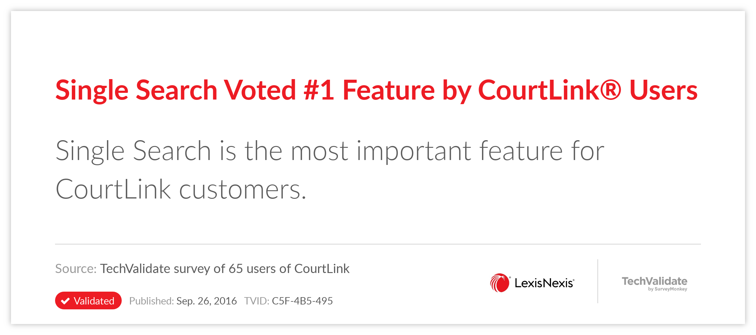 Single Search Voted #1 Feature by CourtLink(R) Users