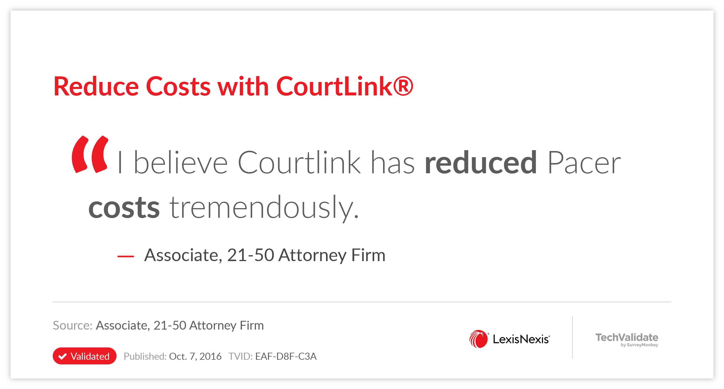 Reduce Costs with CourtLink(R)