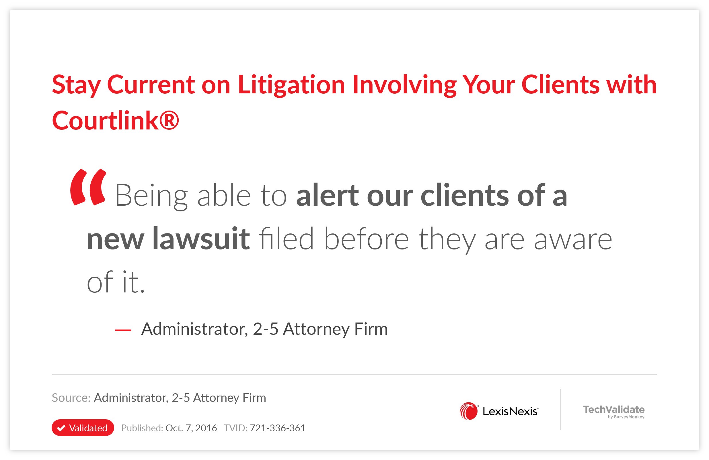 Stay Current on Litigation Involving Your Clients with Courtlink(R)