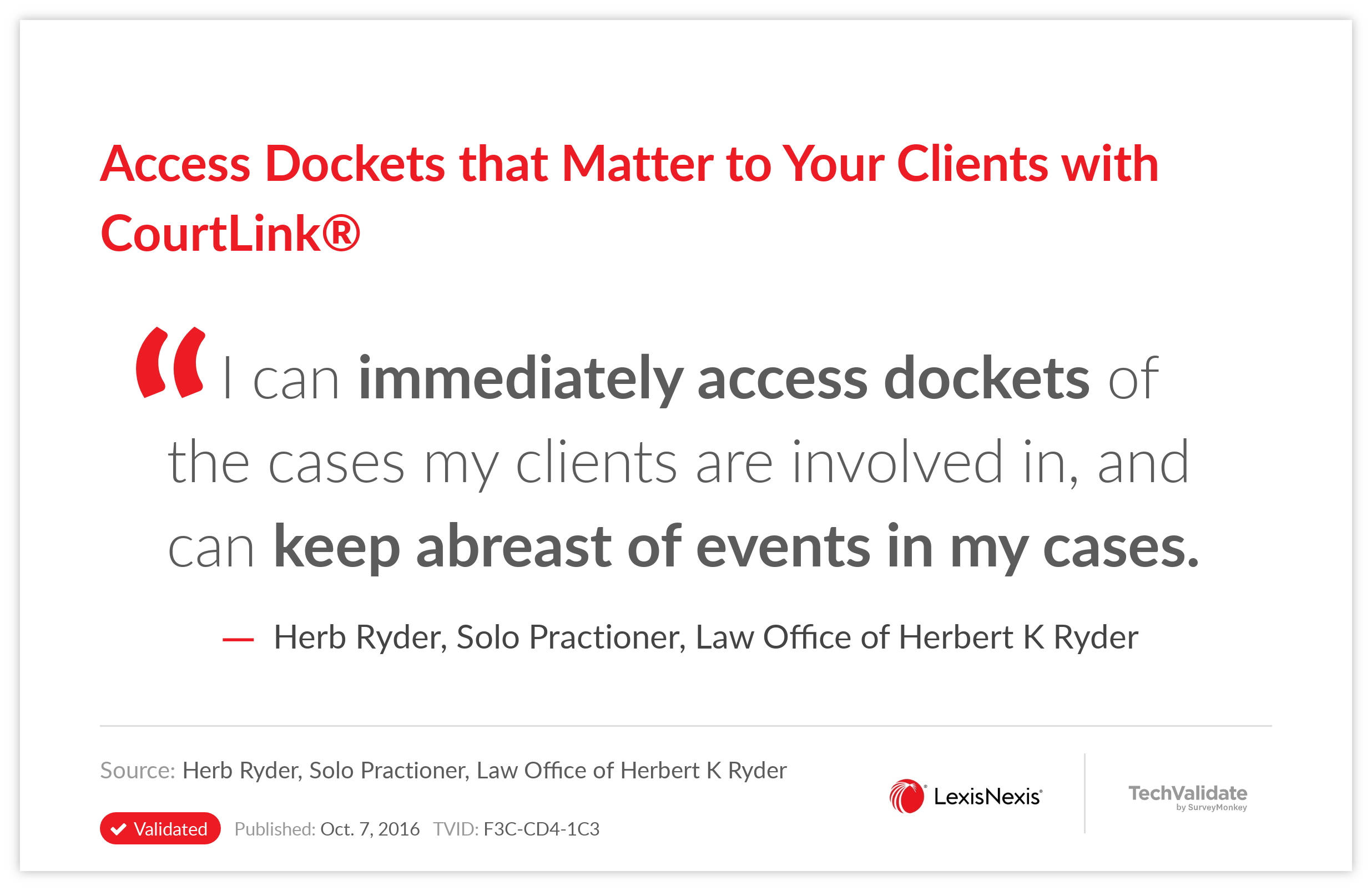 Access Dockets that Matter to Your Clients with CourtLink(R)