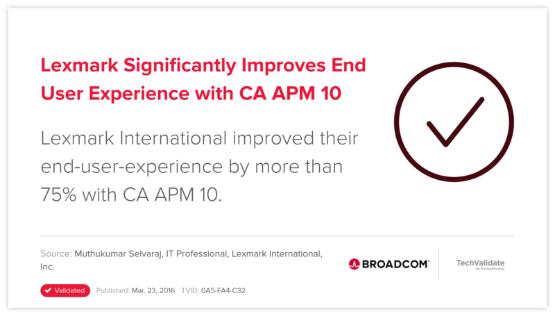 Lexmark Significantly Improves End User Experience with CA APM 10