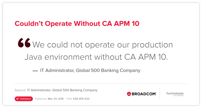 Couldn't Operate Without CA APM 10