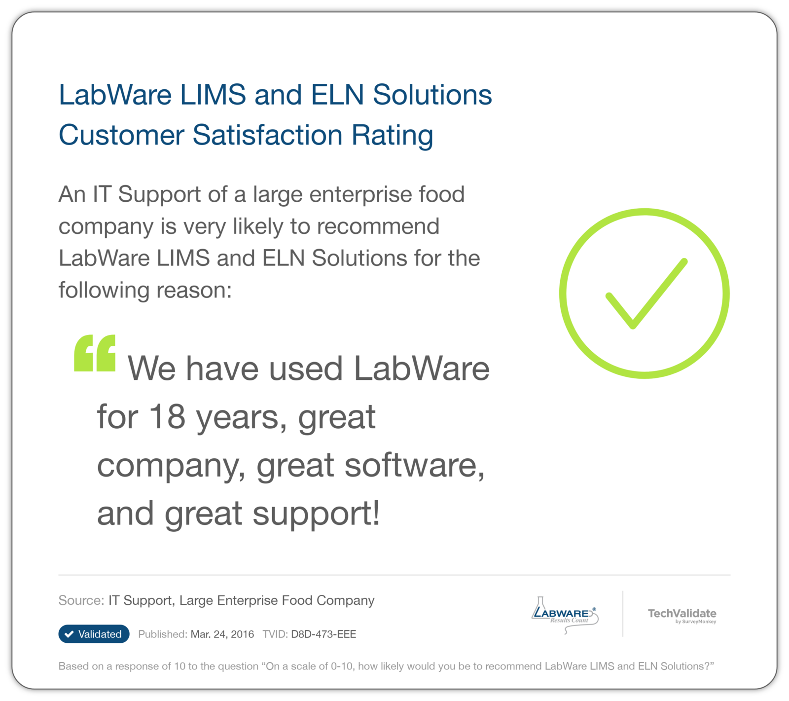 LabWare LIMS and ELN Solutions Customer Satisfaction Rating