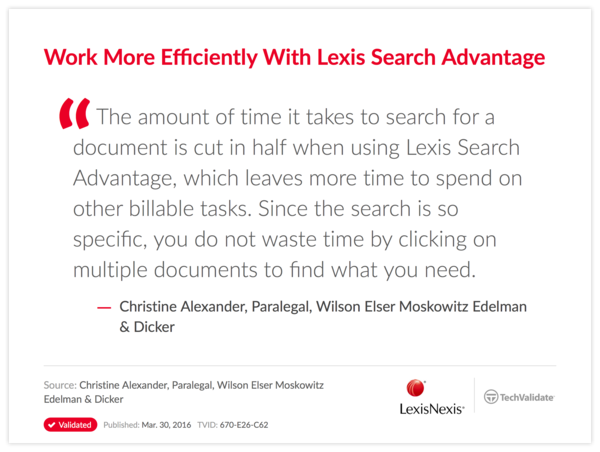 Work More Efficiently With Lexis Search Advantage