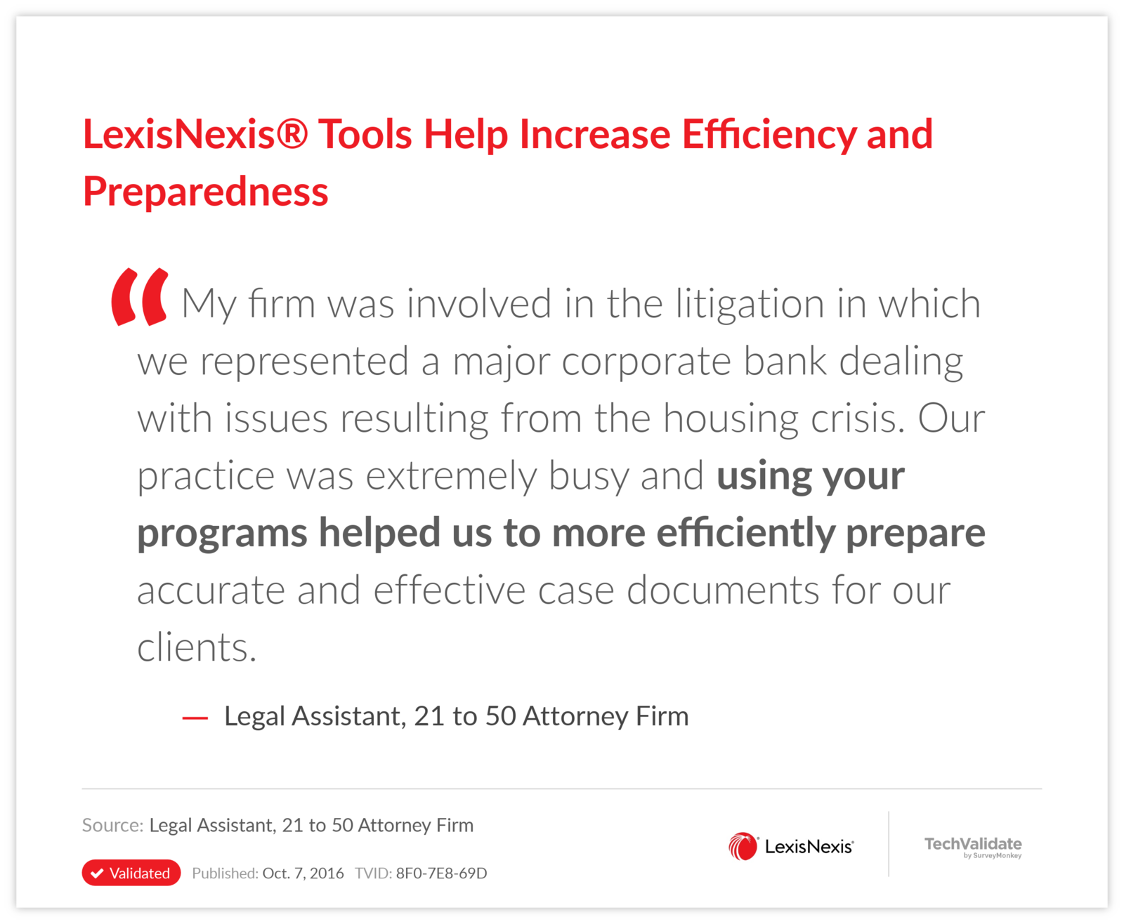 LexisNexis® Tools Help Increase Efficiency and Preparedness