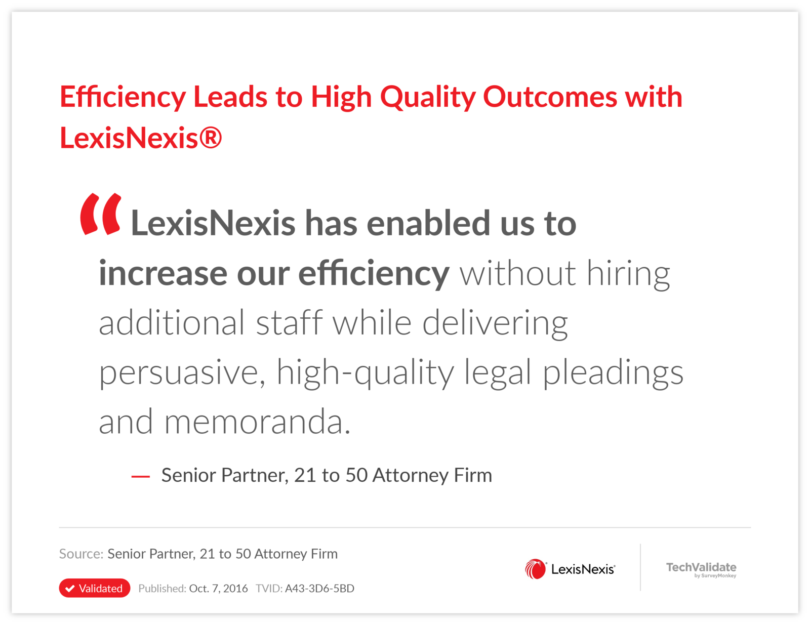 Efficiency Leads to High Quality Outcomes with LexisNexis®