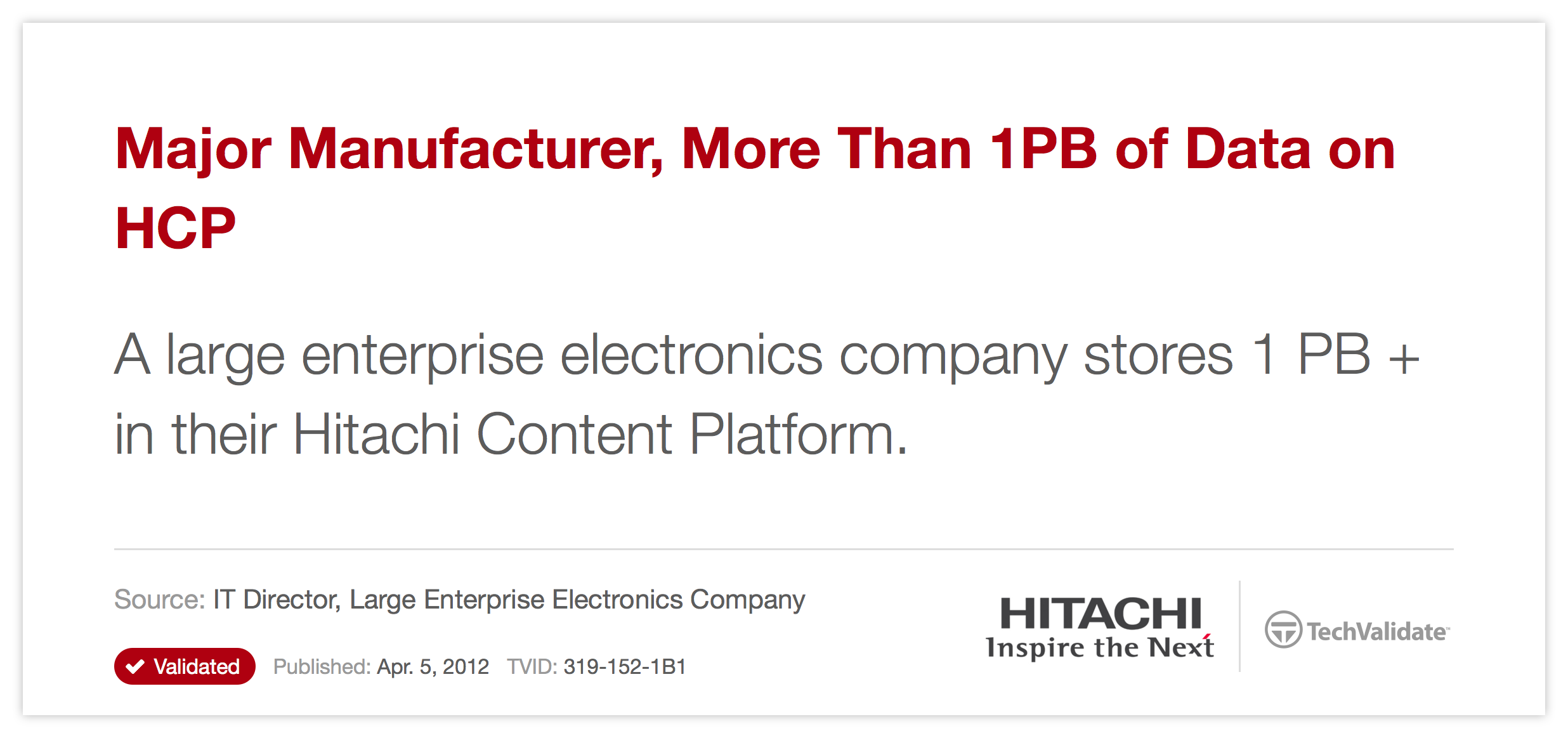 Major Manufacturer, More Than 1PB of Data on HCP