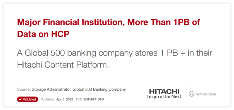 Major Financial Institution, More Than 1PB of Data on HCP