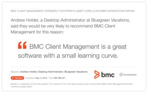 BMC Client Management (formerly FootPrints Asset Core) Customer Satisfaction Rating
