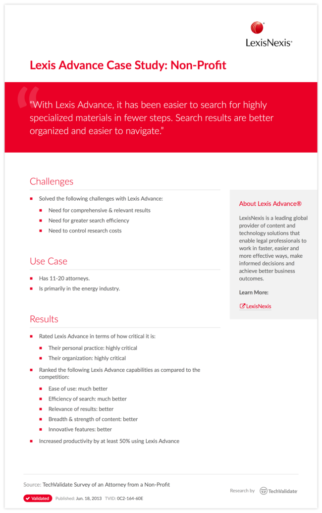 Lexis Advance Case Study: Non-Profit