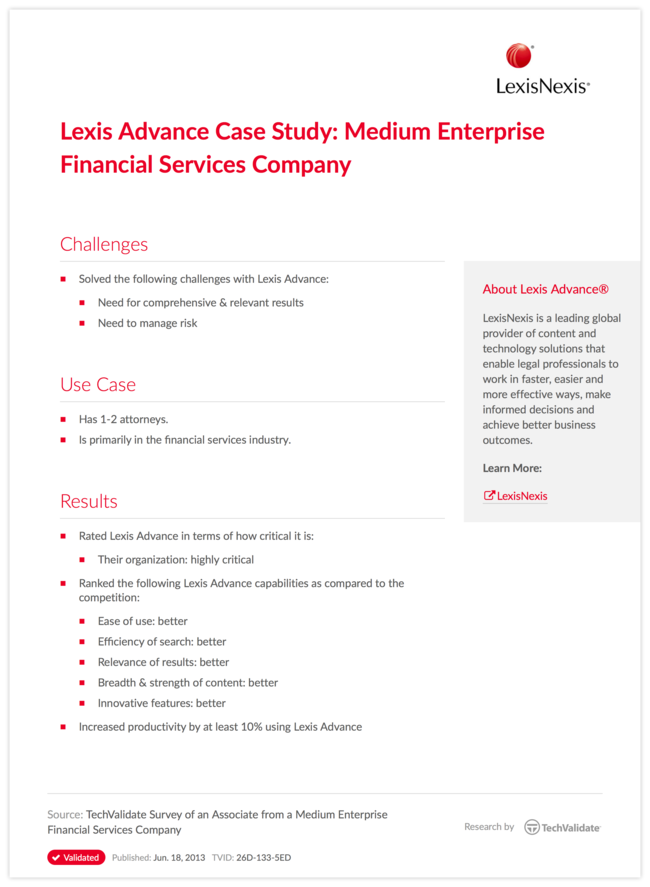 Lexis Advance Case Study: Medium Enterprise Financial Services Company