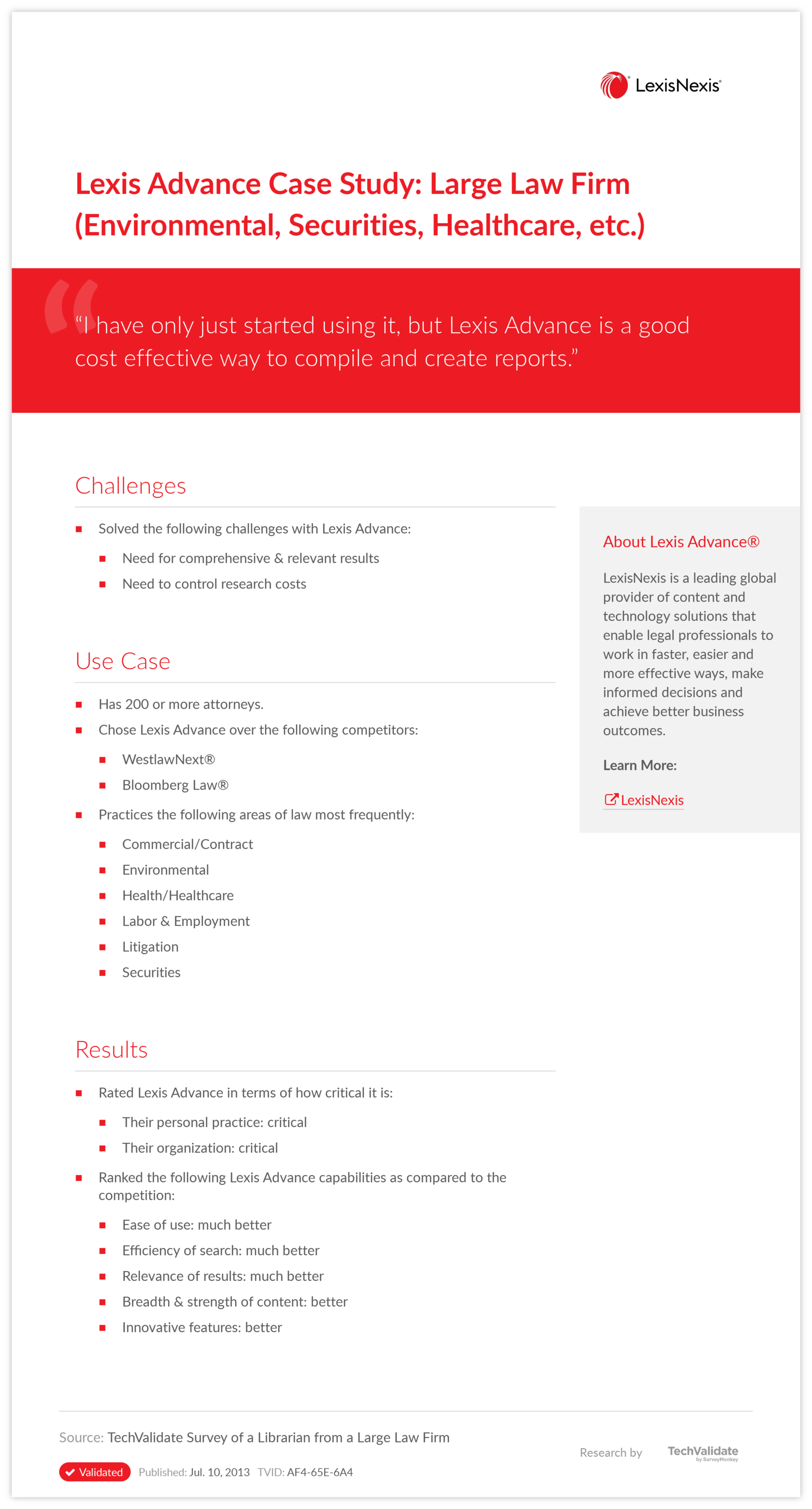 Lexis Advance Case Study: Large Law Firm (Environmental, Securities, Healthcare, etc.)