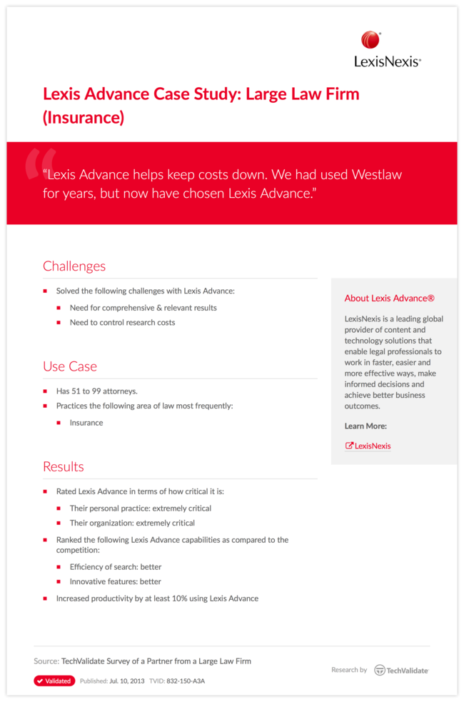 Lexis Advance Case Study: Large Law Firm (Insurance)