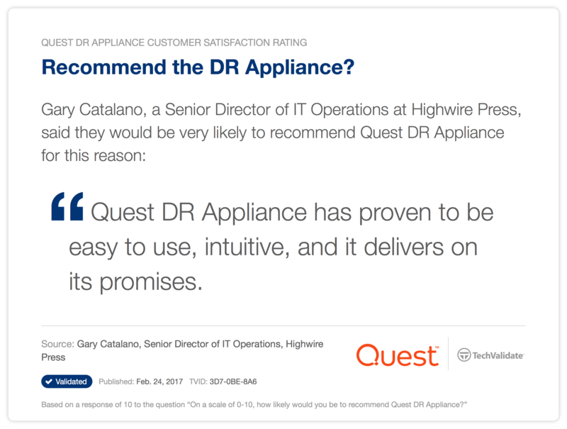 Recommend the DR Appliance?