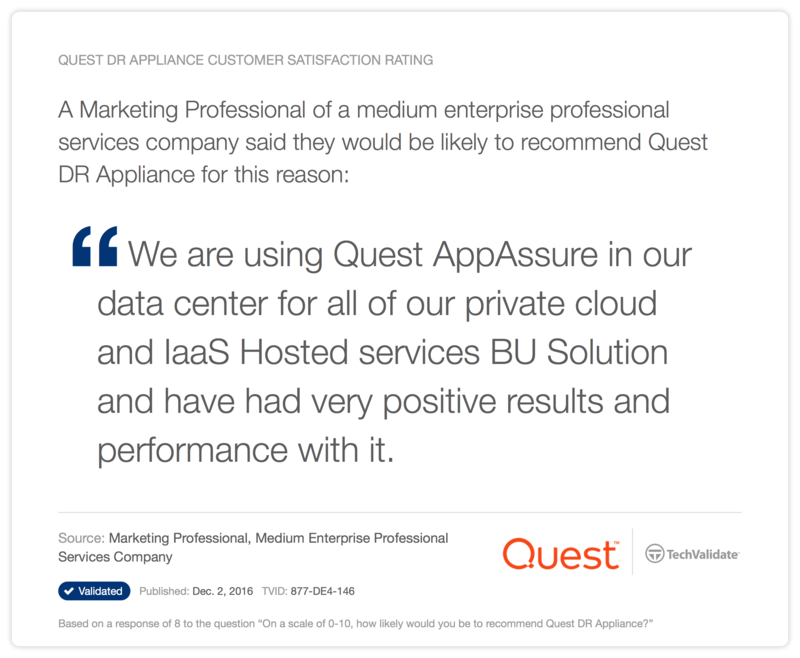 Quest DR Appliance Customer Satisfaction Rating