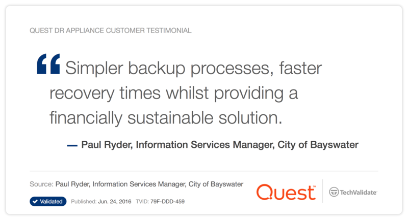 Quest DR Appliance Customer Testimonial