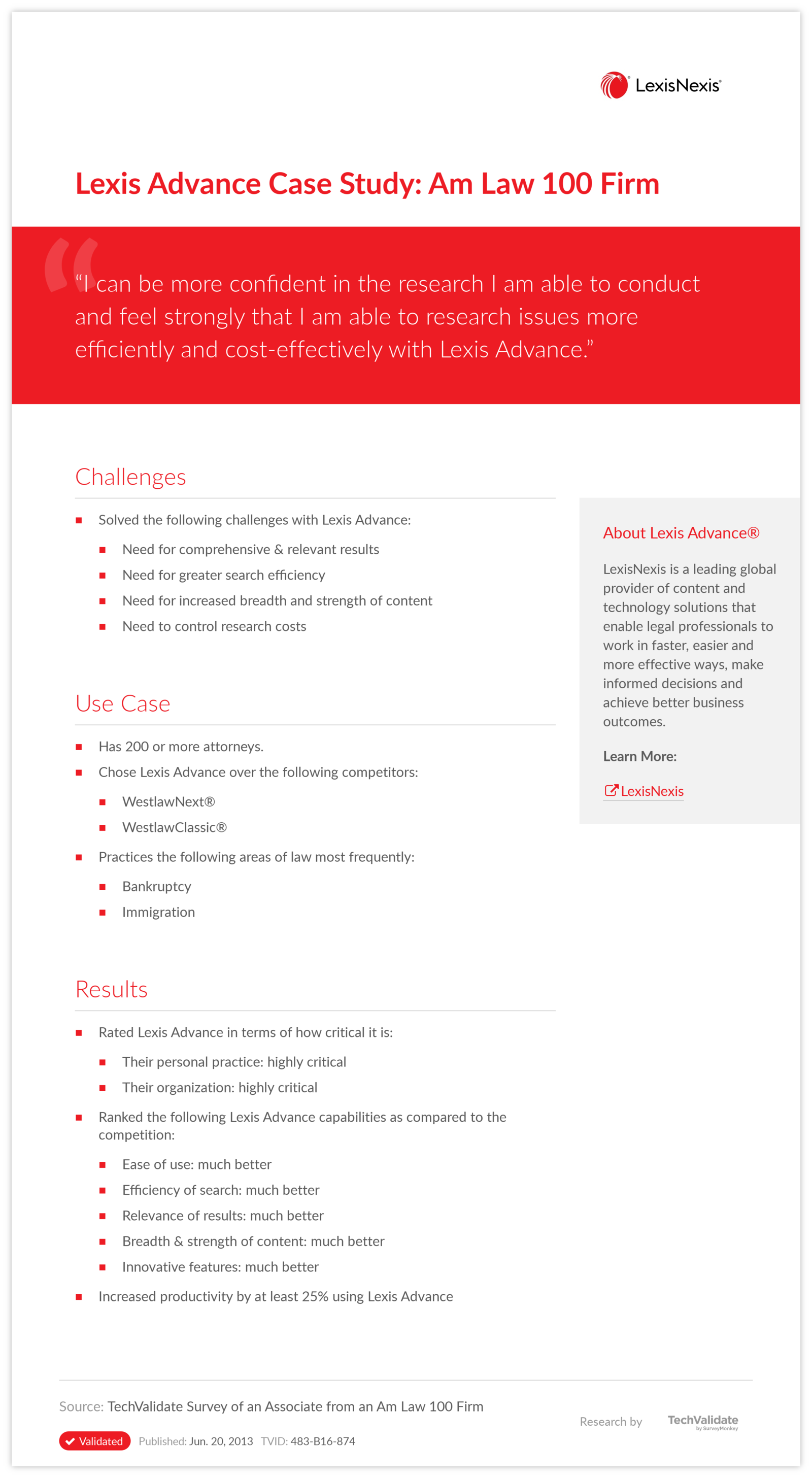 Lexis Advance Case Study: Am Law 100 Firm