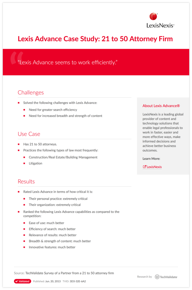 Lexis Advance Case Study: 21 to 50 Attorney Firm