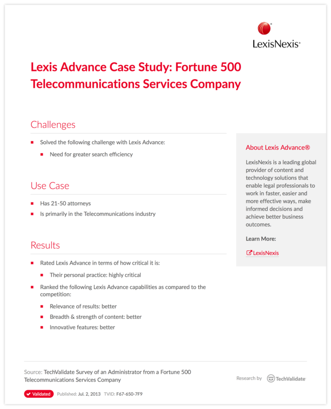 Lexis Advance Case Study: Fortune 500 Telecommunications Services Company