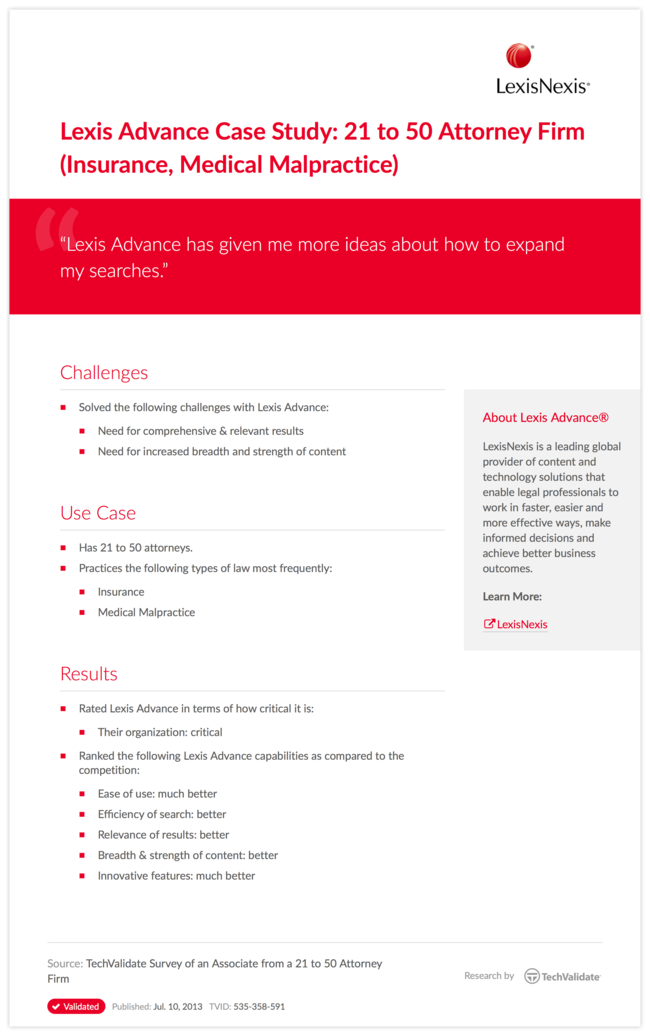 Lexis Advance Case Study: 21 to 50 Attorney Firm (Insurance, Medical Malpractice)