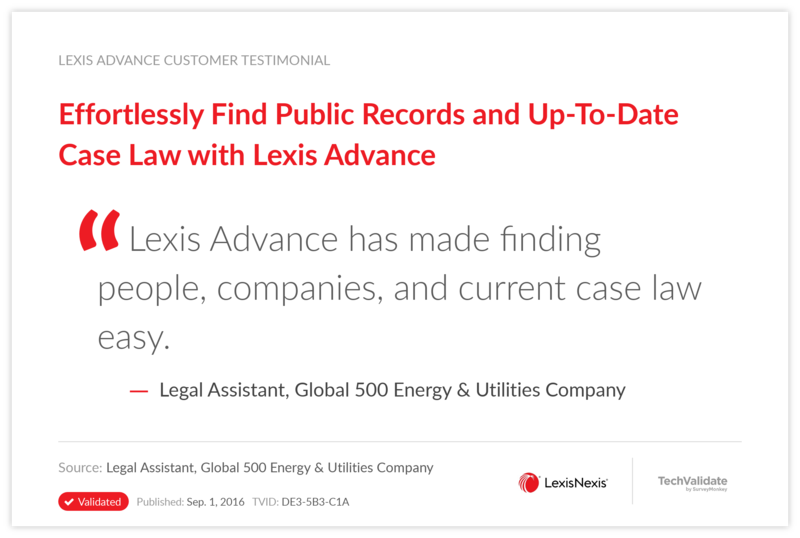Effortlessly Find Public Records and Up-To-Date Case Law with Lexis Advance