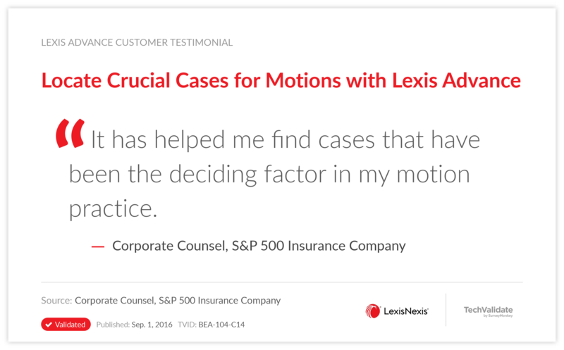 Locate Crucial Cases for Motions with Lexis Advance