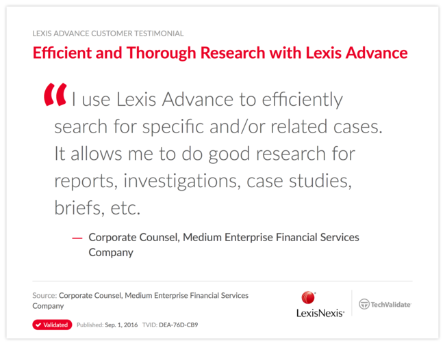 Efficient and Thorough Research with Lexis Advance