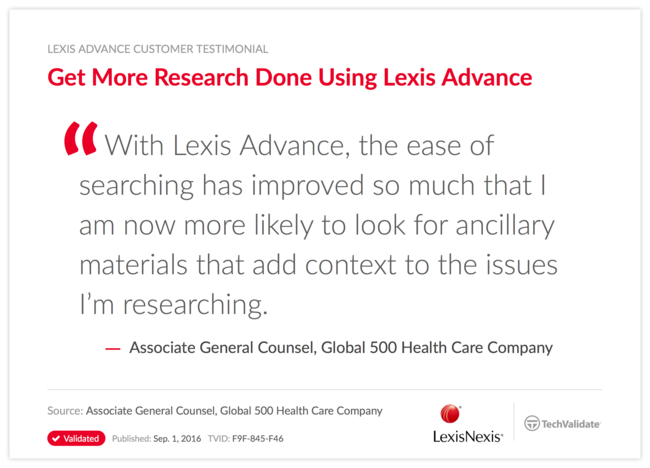 Get More Research Done Using Lexis Advance