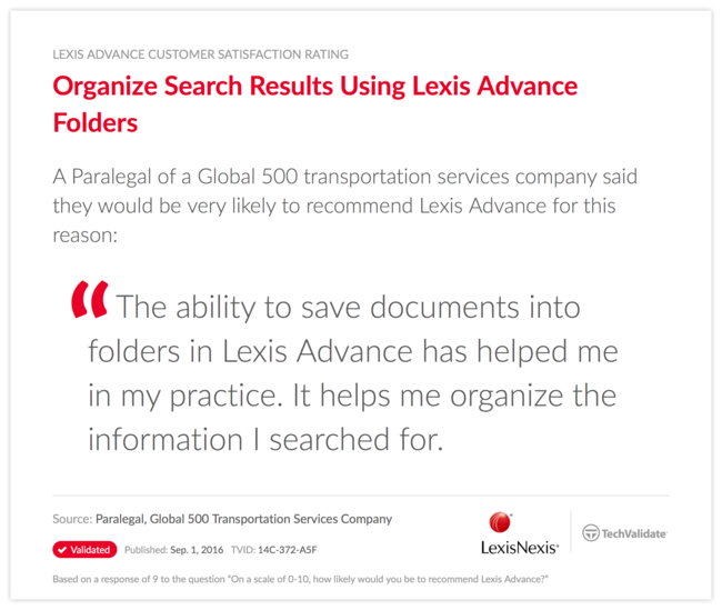 Organize Search Results Using Lexis Advance Folders