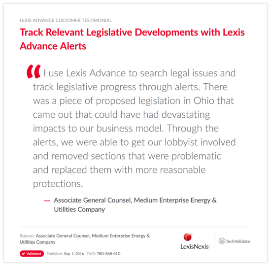 Track Relevant Legislative Developments with Lexis Advance Alerts