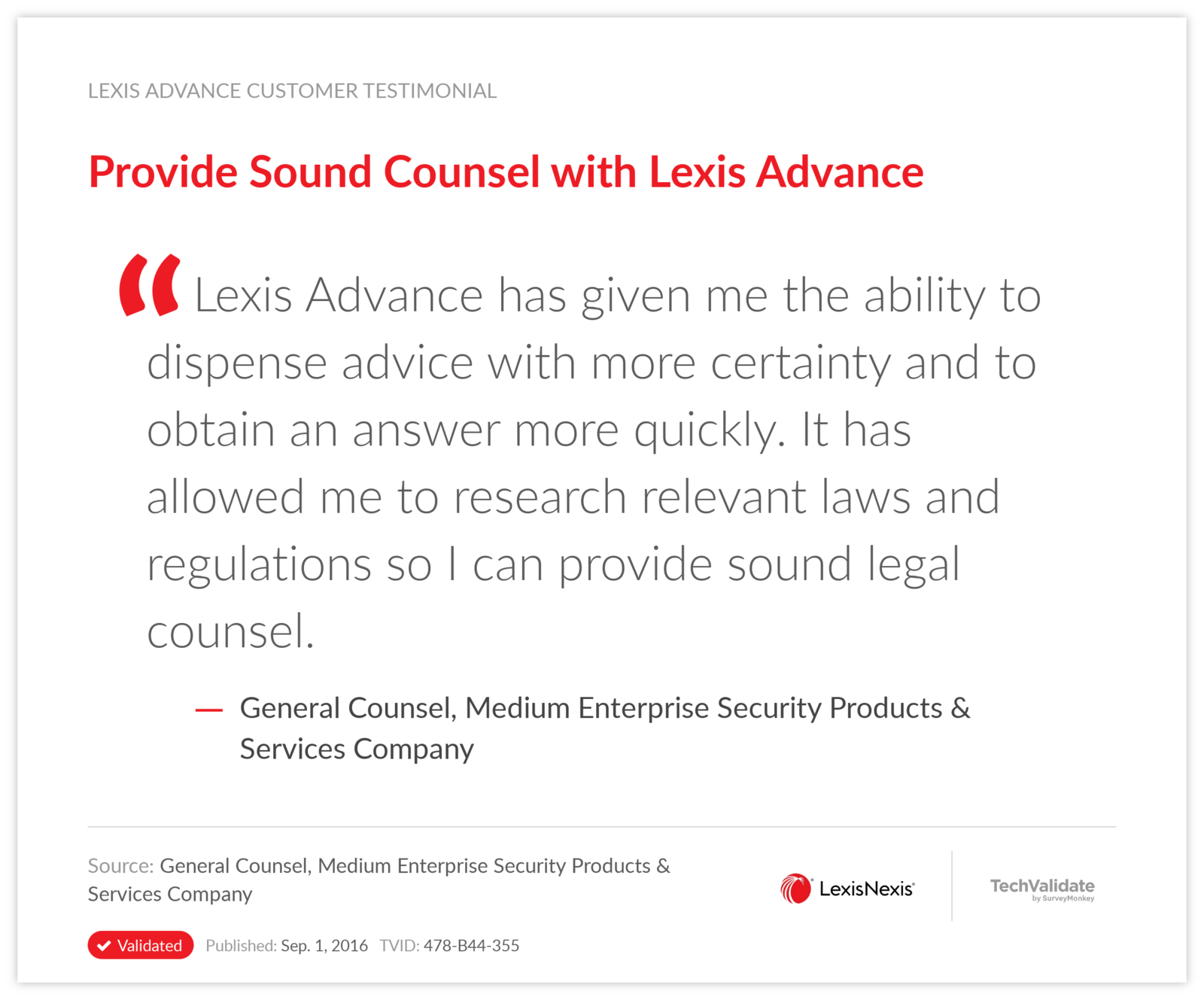 provide sound counsel with lexis advance