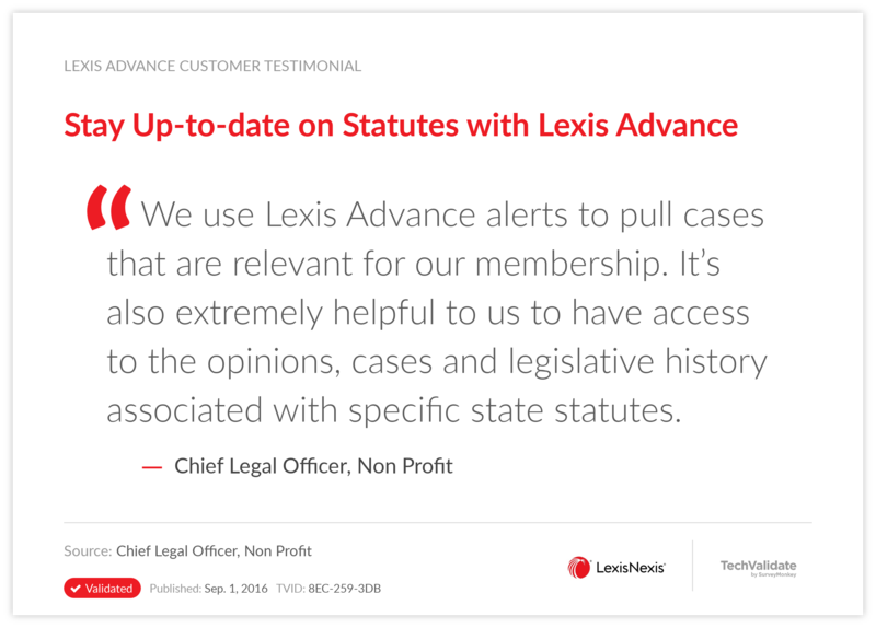 Stay Up-to-date on Statutes with Lexis Advance