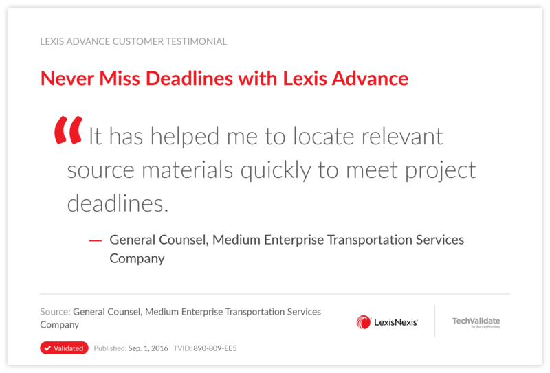 Never Miss Deadlines with Lexis Advance