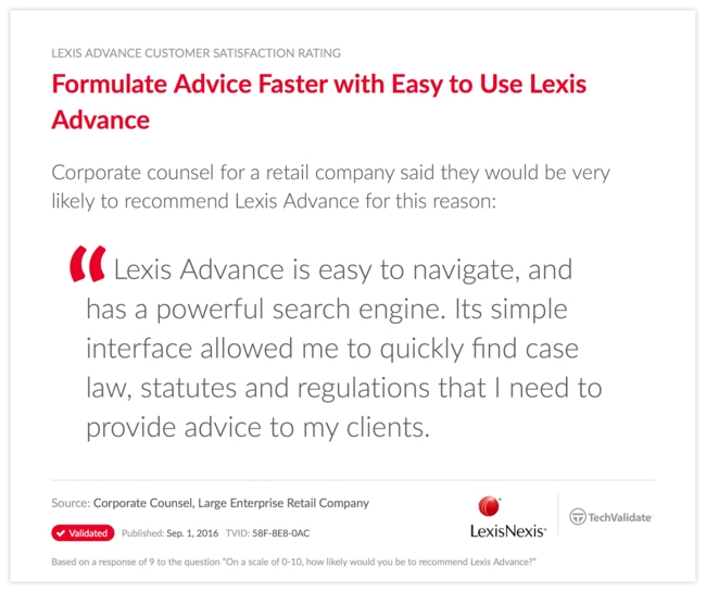 Formulate Advice Faster with Easy to Use Lexis Advance