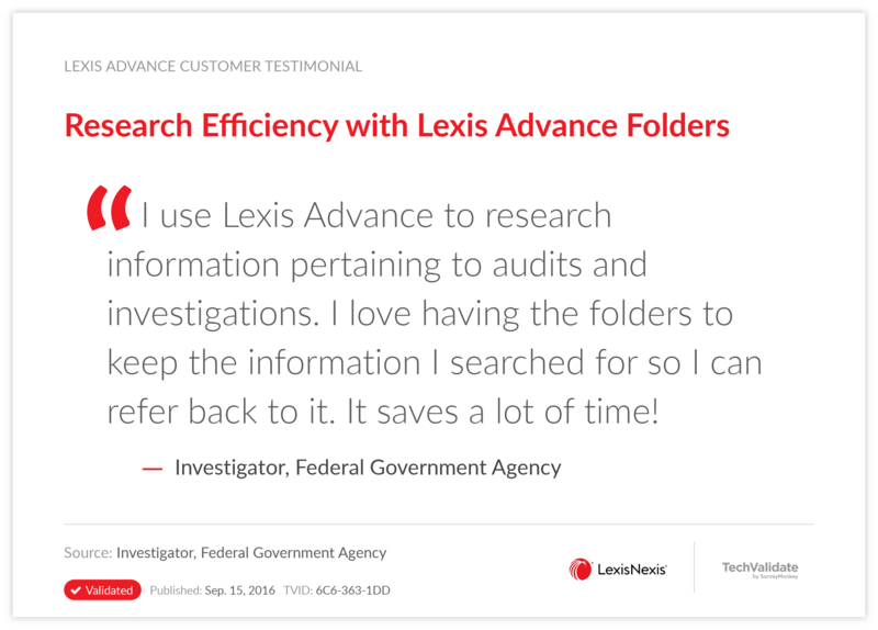 Research Efficiency with Lexis Advance Folders