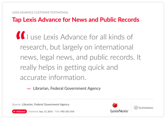 Tap Lexis Advance for News and Public Records