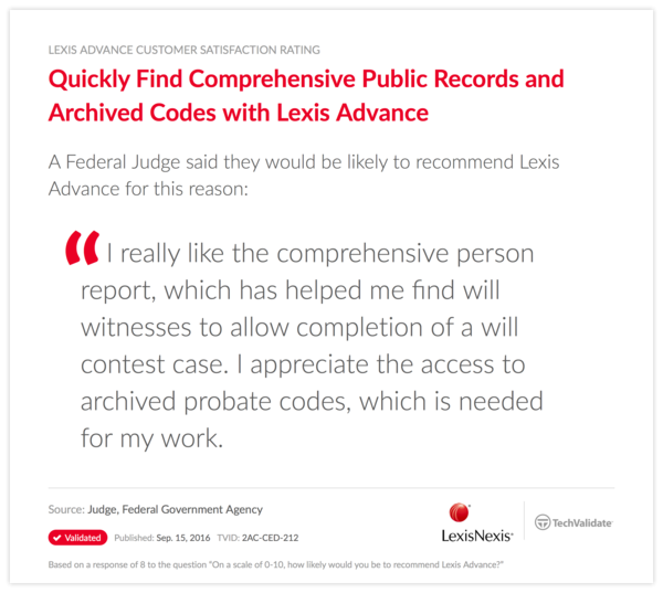 Quickly Find Comprehensive Public Records and Archived Codes with Lexis Advance