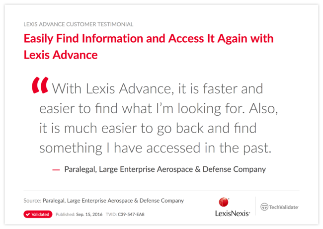 Easily Find Information and Access It Again with Lexis Advance